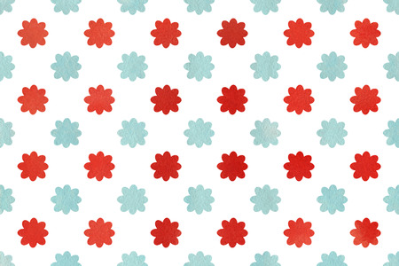 ruddy: Watercolor red and blue flower pattern. Watercolor flowers on white background. Stock Photo