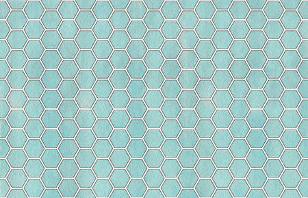 Watercolor blue and gray geometrical comb pattern. Hexagonal grid design.