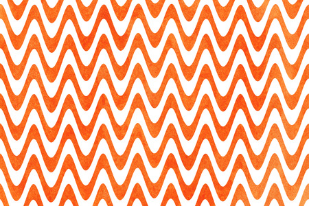Watercolor orange stripes background, chevron. Watercolor geometric pattern