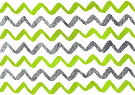 Watercolor lime green and acryl silver hand painted stripes pattern, chevron.
