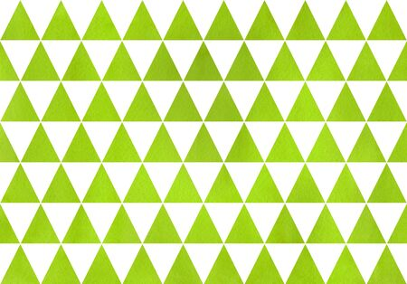Watercolor lime green triangle pattern. Watercolor geometric pattern. Stock Photo