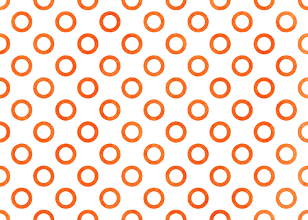 Watercolor orange circles on white background. Watercolor geometric pattern. Stock Photo