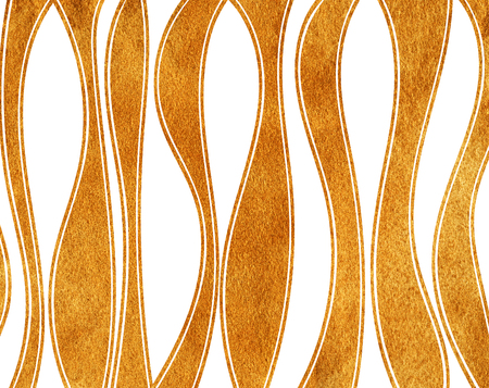 Golden painted curved striped background. Abstract golden striped background.