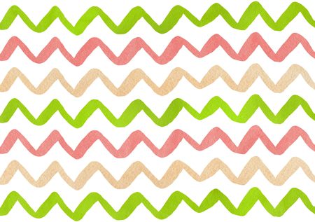 Watercolor lime green, coral pink and beige hand painted stripes pattern, chevron.