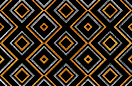 scrap gold: Golden and silver geometrical pattern on black background. For fashion textile, cloth backgrounds