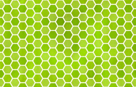 Watercolor lime green geometrical comb pattern. Hexagonal grid design.