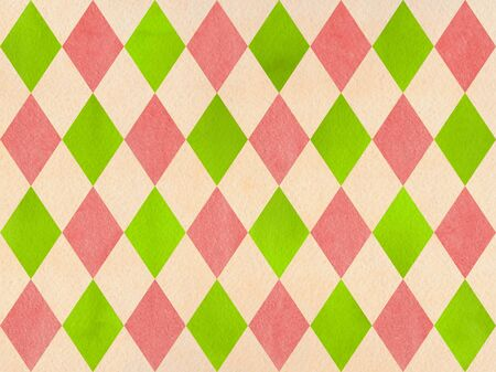 checked: Watercolor lime green, coral pink and beige diamond pattern. Geometrical traditional ornament for fashion textile, cloth, backgrounds.