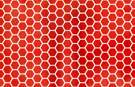 Watercolor Red Geometrical Comb Pattern Hexagonal Grid Design