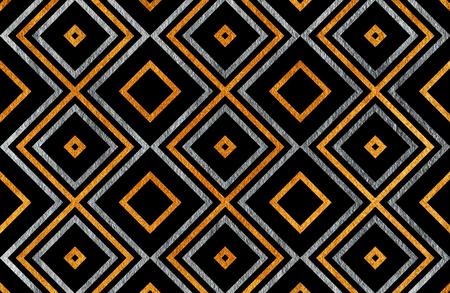 Gouden en zilveren geometrische patroon op zwarte achtergrond. Voor mode textiel, doek achtergronden