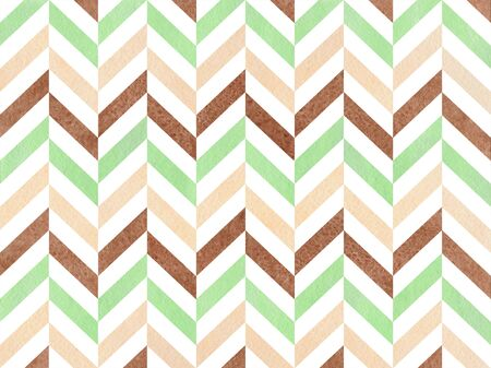 Watercolor mint, brown and beige stripes background, chevron