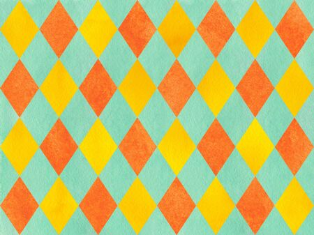 checked: Watercolor yellow, seafoam blue and carrot orange diamond pattern. Geometrical traditional ornament for fashion textile, cloth, backgrounds.