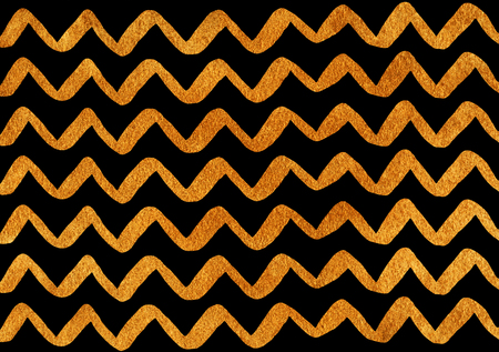 Golden hand drawn stripes background, chevron. Golden shining texture on black. Gold paint.