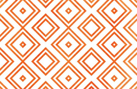 Watercolor geometrical pattern in orange color. For fashion textile, cloth, backgrounds.