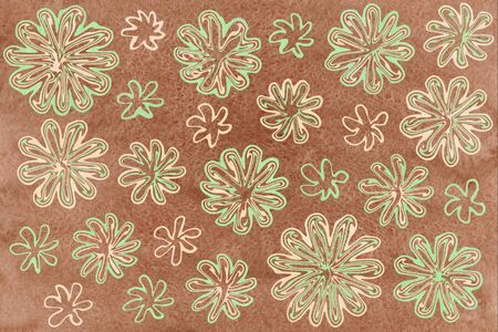 beige: Watercolor mint and beige abstract flowers on brown background.