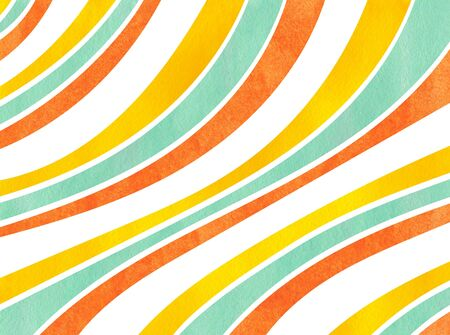 Watercolor yellow, seafoam blue and carrot orange striped background. Curved line pattern. Stock Photo