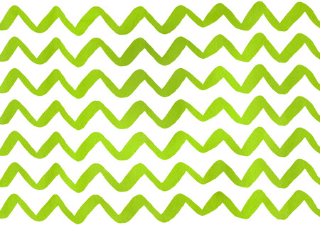 Watercolor lime green hand painted stripes pattern, chevron.