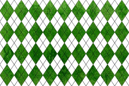 Watercolor green diamond pattern. Geometrical traditional ornament for fashion textile, cloth, backgrounds.