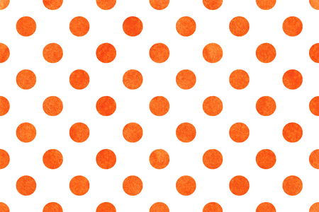 polkadot: Watercolor orange polka dot background. Pattern with polka dots for scrapbooks, wedding, party or baby shower invitations.