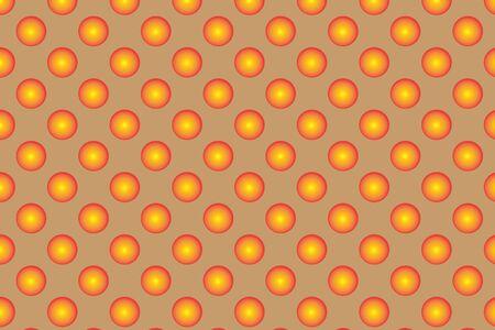 braun: Pattern with orange spherical dots. Golden spherical polka dot pattern. Orange polka dot on braun background. The stylish geometric pattern.  Polka dot abstract background.