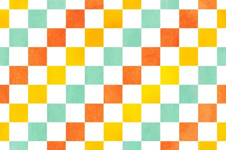 Watercolor yellow, seafoam blue and carrot orange square pattern. Geometrical traditional ornament for fashion textile, cloth, backgrounds.