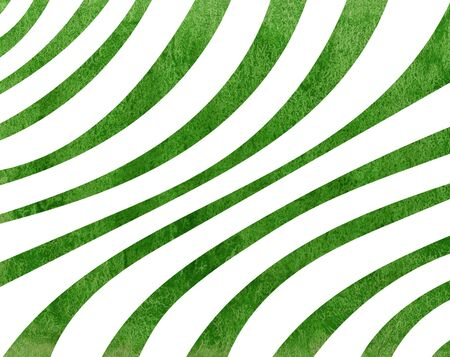 Watercolor green striped background. Curved line pattern.