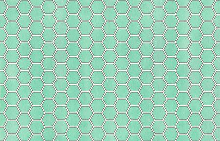 Watercolor seafoam blue and gray geometrical comb pattern. Hexagonal grid design.