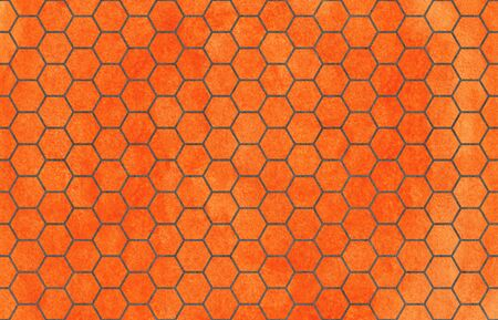 Watercolor carrot orange and gray geometrical honey comb pattern.