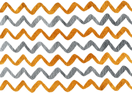 drawn metal: Silver and golden hand drawn stripes background, chevron. Silver and golden shining texture. Silver and gold paint.