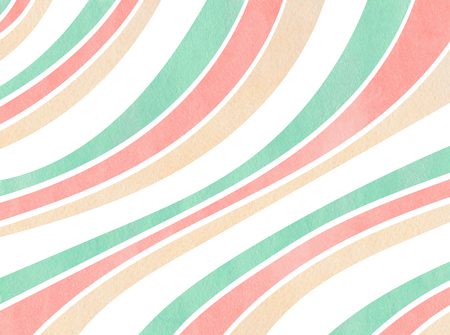 Watercolor light pink, beige and seafoam blue striped background. Curved line pattern.