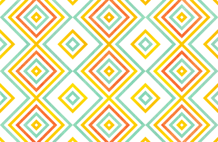 Watercolor geometrical pattern in yellow, seafoam blue and carrot orange color. For fashion textile, cloth, backgrounds. Stock Photo