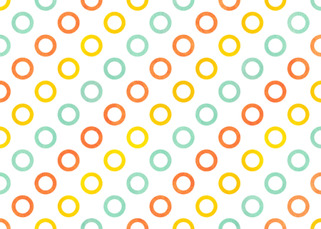 Watercolor yellow, seafoam blue and carrot orange circles on white background.