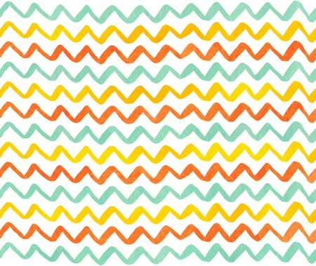 Watercolor yellow, seafoam blue and carrot orange hand painted stripes pattern, chevron. Stock Photo