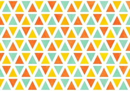 Watercolor yellow, seafoam blue and carrot orange triangle pattern. Stock Photo