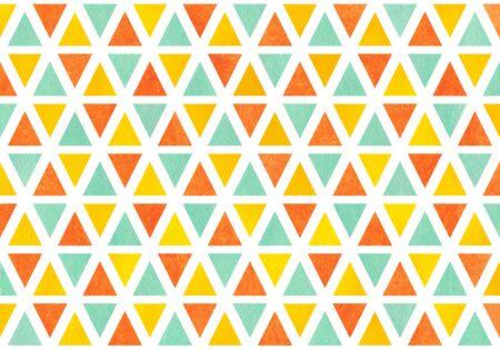 rhomb: Watercolor yellow, seafoam blue and carrot orange triangle pattern. Stock Photo