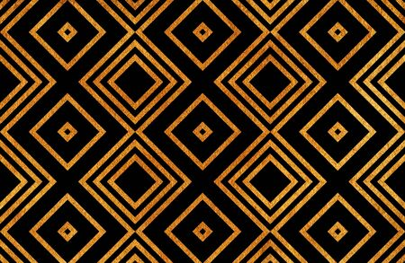 shiny black: Golden geometrical pattern on black background. For fashion textile, cloth backgrounds