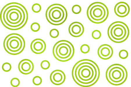 Watercolor lime green circles on white background. Watercolor geometric pattern. Stock Photo