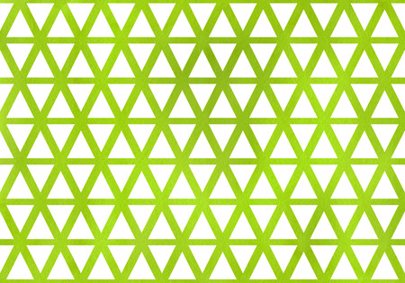 Watercolor lime green triangle pattern. Watercolor geometric pattern. Stock Photo