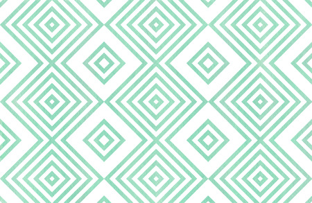 Watercolor geometrical pattern in seafoam blue color. For fashion textile, cloth, backgrounds.