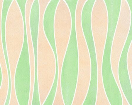 Watercolor mint green and beige striped background. Curved line pattern.