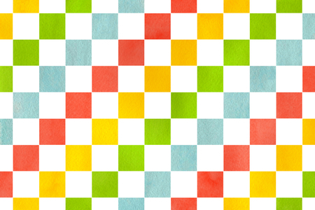 checked: Watercolor yellow, salmon pink, lime green and blue square pattern. Geometrical traditional ornament for fashion textile, cloth, backgrounds.