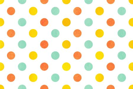 polkadot: Watercolor yellow, seafoam blue and carrot orange polka dot background. Pattern with dots for scrapbooks, wedding, party or baby shower invitations.