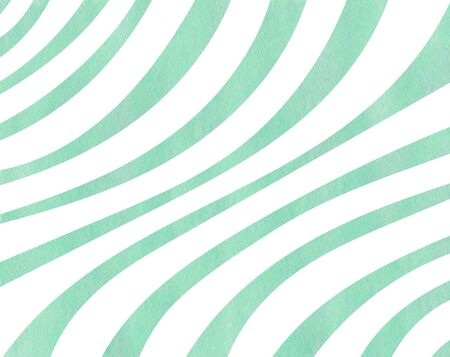 Watercolor seafoam blue striped background. Curved line pattern.