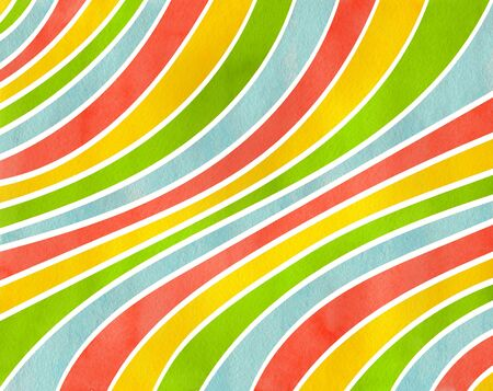 Watercolor yellow, salmon pink, lime green and blue striped background. Curved line pattern.