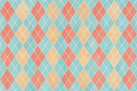 Watercolor blue, beige and pink diamond pattern. Geometrical traditional ornament for fashion textile, cloth, backgrounds.
