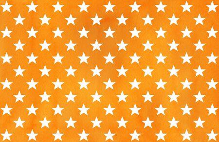 Watercolor orange pattern in blue color. Watercolor geometric pattern.