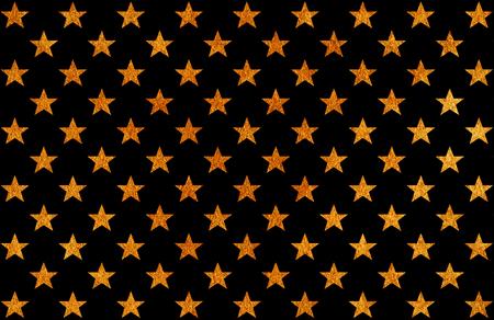 Golden painted stars pattern. Golden shining texture. Gold paint