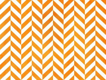 Watercolor orange stripes background, chevron. Watercolor geometric pattern