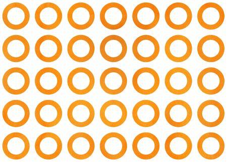 Watercolor orange circles on white background. Watercolor geometric pattern. Stock Photo
