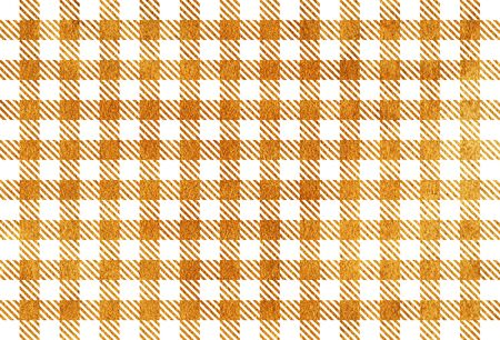 Golden painted checked pattern. Geometrical traditional ornament for fashion textile, cloth, backgrounds.
