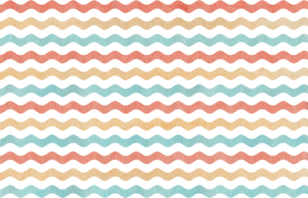 Watercolor blue, beige and pink wavy striped pattern. Stock Photo